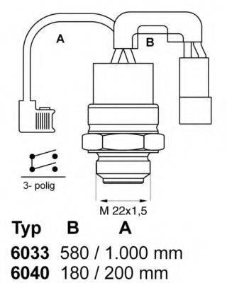 Термовыключатель, вентилятор радиатора WAHLER 6040.88