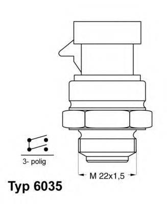 Термовыключатель, вентилятор радиатора WAHLER 6035.92D