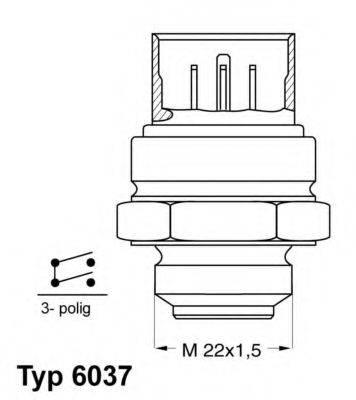 Термовыключатель, вентилятор радиатора; Термовыключатель, вентилятор радиатора WAHLER 6037.87D