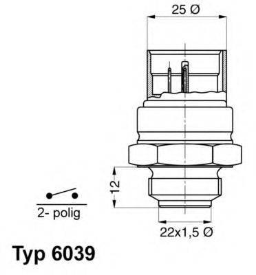 Термовыключатель, вентилятор радиатора WAHLER 6039.95D