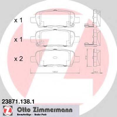 ZIMMERMANN 238711381 Комплект тормозных колодок, дисковый тормоз